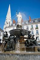 France, Pays de la Loire province, Departement of Loire Atlantique 44, Nantes   One of the main place in nantes, la Place Royale with its beautiful fo...
