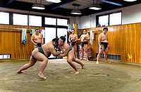 `Kiriyama beya´Sumo Wrestler Training School  Arakawa 2-47-2  Higasio-ku  Tel 03-3819-6096 Tokyo city, Japan, Asia