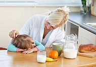 Blond mother and daughter having breakfast in kitchen