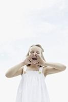 Cute girl shouting