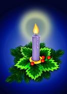 Christmas illustration, bright burning candle