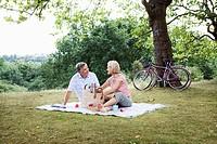 Mature couple unpacking picnic basket