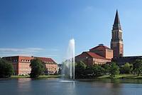 Germany, Kiel, Kiel Fjord, Baltic Sea, Schleswig-Holstein, opera house, art nouveau, city hall, city hall tower, campanile, brick building, Kleiner Ki...
