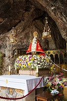 The Holy Cave where is the sculpture of Covadonga Virgin. Cangas de Onis. Council. Oriente region. Picos de Europa. Asturias. Spain.