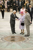 Former Governor L. Douglas Wilder and current Richmond Virginia Mayor greeting Her Majesty Queen Elizabeth II, Queen of England, with Virginia Governo...