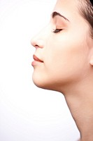 Profile of a young woman - close up