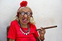 Cuba, Old woman smoking cigar