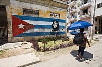 Cuba, Havana Vieja, graffiti of Che Guevarra