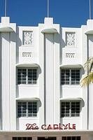 ART DECO FACADE, HOTEL CARLYLE, OCEAN DRIVE, ART DECO NEIGHBORHOOD IN MIAMI BEACH, MIAMI, FLORIDA, USA