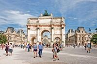 France-August 2010 Paris City Carrousel Arc du Triumph and Louvre Museum.