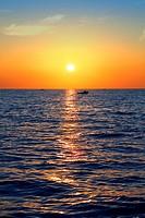 blue golden sunrise seascape sea ocean red golden colorful