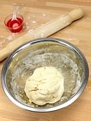 Scone dough bsing prepared on a kitchen bench