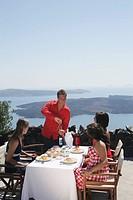 Friends at open air restaurant