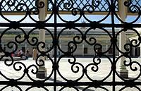 africa, Morocco, Marrakech, Bahia palace courtyard ...