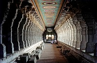 Ramanathaswamy temple´s corridor in Rameswaram, Tamil Nadu  The longest temple corridor646 feet long in India