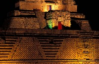 Mexico, Uxmal Maya. Pyramid of Magician