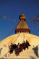 Nepal, Katmandu, monks at Boudanath