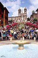 Lazio, Rome, Trinità dei Monti and Piazza di Spagna fountain