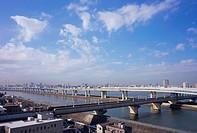 Elevated road over river, Tokyo, Japan