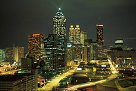 USA, Georgia, Atlanta: cityscape at night