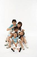 Portrait of family smiling