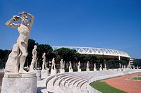 Lazio, Rome, The marbles statues and the olympic stadium