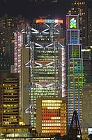 Asia, China, Hong Kong, Evening view of Hong Kong skyline