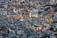 Israel, West Bank, Nablus, cityscape at dusk, the An Nazir mosque