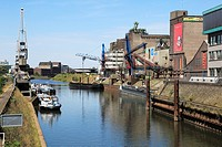 Germany, Neuss, Rhine, Lower Rhine, North Rhine-Westphalia, Rhine harbour, industrial port, storage houses, port cranes, cargo ships
