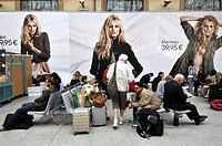 Advertising at Saint-Lazare railway station, Paris, France