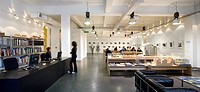 LONDON OFFICE, JOHN MCASLAN AND PARTNERS, LONDON, UK, 2009. A GENERAL PANORAMIC SHOT SHOWING THE BRIGHT OPEN PLAN RECEPTION AND GALLERY SPACE