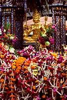 THAILAND, BANGKOK, ERAWAN SHRINE, OFFERINGS OF FLOWER GARLANDS