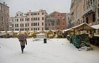 Italy, Veneto, Venice, Campo San Maurizio antique market in winter