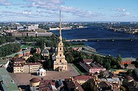 Russia, St. Petersburg, Peter and Paul fortress, aerial view