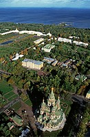 Russia, Saint Petersburg, Peterhof palace, aerial view