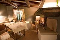 Italy, Tuscany, Casciana Terme, Villa Borri interior of health spa, woman in jacuzzi