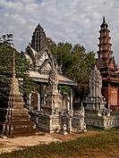 Cambodia, Battambang, stupa and pagodas
