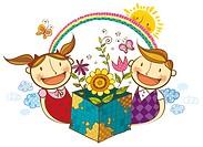 Portrait of children holding flowering plants