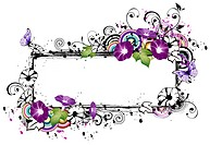 Rectangular frame with morning glory flower