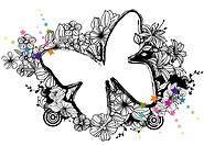 Butterfly shape with flora design