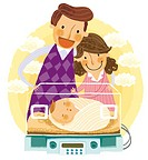 Parents looking at newborn baby in an incubator