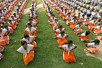 Bangladesh, students exercising in school near Comilla