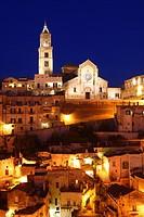 Italy, Basilicata, Matera, the cathedral at dusk