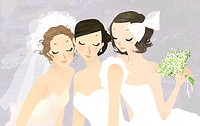Close_up of three bride with closed eyes