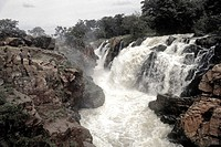 Hogenakkal Falls in all its splendour, Kaveri River, Tamil Nadu, India. There is a rugged beauty here and untamed grandeur.