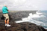 Waves pound lava shore Hawaii Volcanoes National Park Pacific Ocean Kilauea