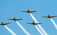 Squadron of airplanes flying in formation at the annual Chicago Air and Water Show