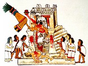 Priest offering the heart taken from a living human victim to the Aztec sun god and god of war, Huitzilopochtli. Print of facsimile from Aztec Codex, ...