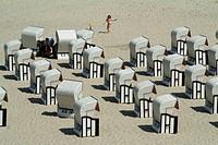 Roofed wicker beach chairs, Sellin, Rügen, Mecklenburg_Vorpommern, Germany