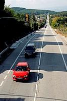 Road traffic, Ordal, Subirats, Catalonia, Spain.